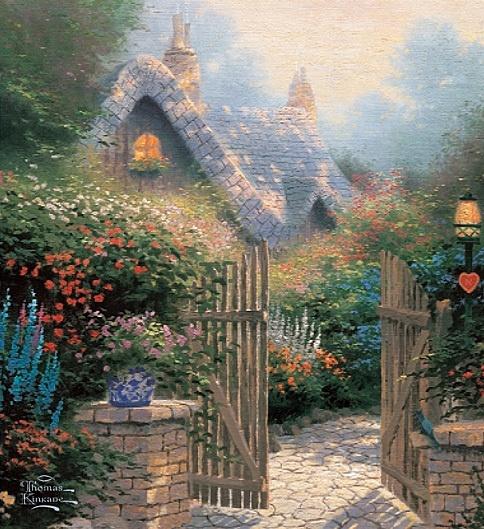 .Thomas Kincaid, Kinkade Art, Thomas Kincade, Hidden Cottages, Gardens Gates, Flower Gardens, Cottages Ii, Thomas Kinkade, Oil Painting