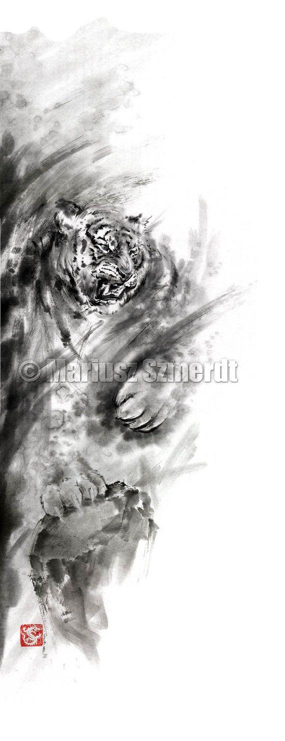 Dragons art tiger art watercolor painting japan by SamuraiArt, $850.00