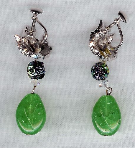 #1481 Boucher Poured Glass Drop Earrings at Lee Caplan Vintage Collection on RubyLane