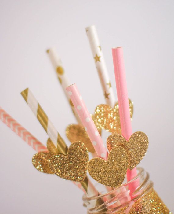 """Listing Details----  This listing is for 12 party straws with glitter attachments. Each attachment is glittered (or foiled) on one side and is white on the opposite side and is sized to fit perfectly onto each straw. Food-safe straws are used.  For reference, the straws pictured above are approximately 8"""" tall, in the assorted pink and gold straw colours. The attachments are approximately 1 tall, by 1.5 wide in the gold glitter colour.  ----Similar Listings----  Hosting a party? We want to…"""