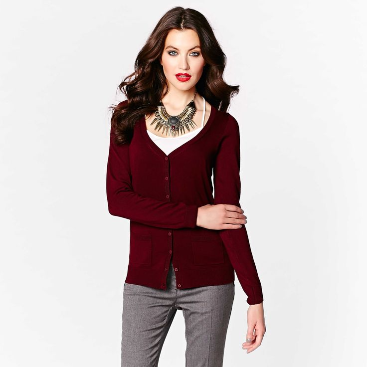 This cardigan is an essential layering piece in your professional wardrobe.