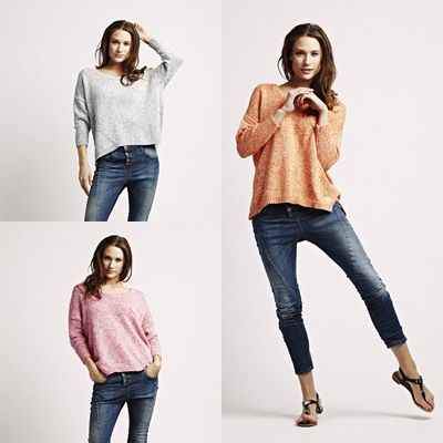 Should it be orange, pink or blue? Choose between our new 4/4 sleeve Hem sweater from Florence Design!