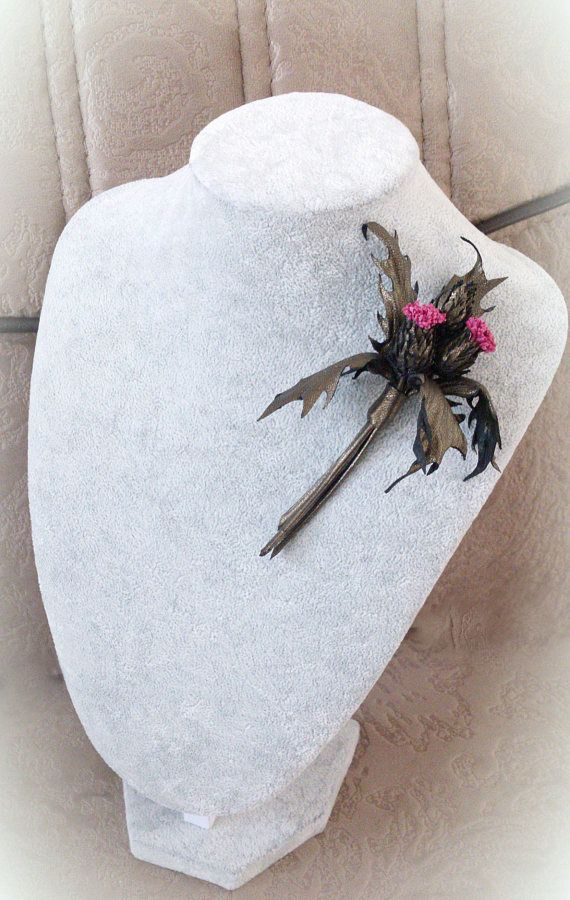 Flower brooch thistle leather jewelry Natural leather brooch
