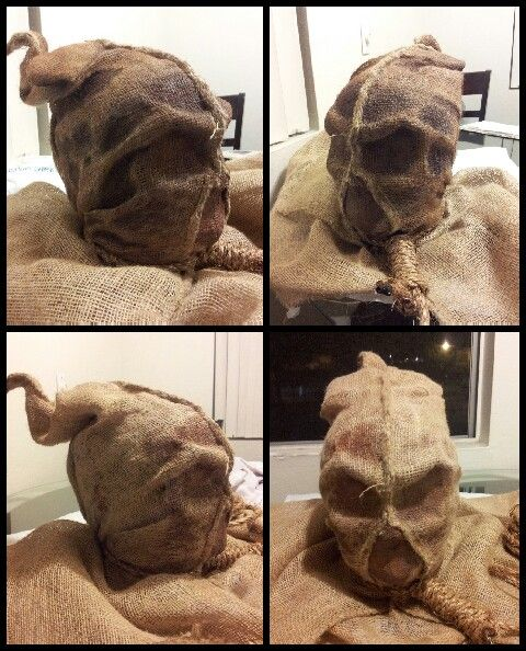 The Making of one of a kind homemade Burlap Scarecrow Mask