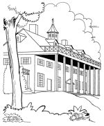 Historic American places & U.S. symbols and flags - coloring pages