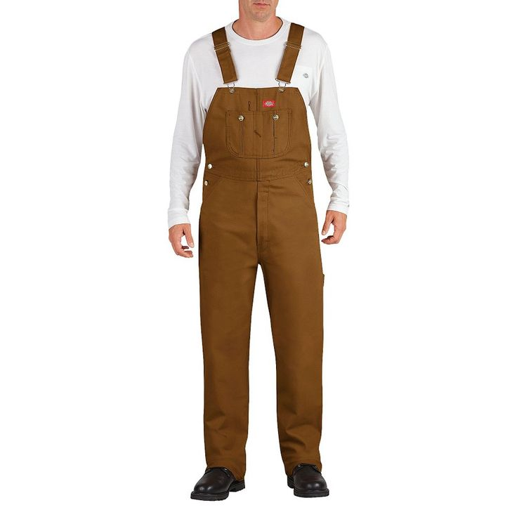 Dickies Men's Big & Tall Washed Denim Bib Overall- Brown Duck 44x30