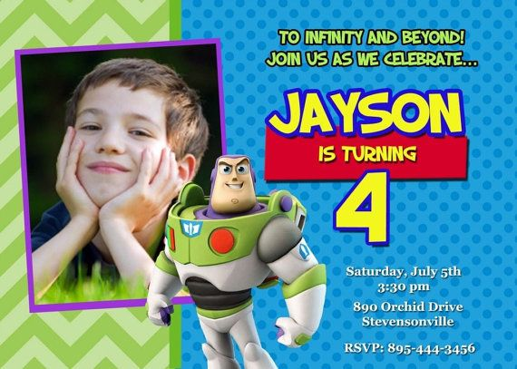 Toy Story Buzz Lightyear Birthday Party Invitation - Printable Digital File