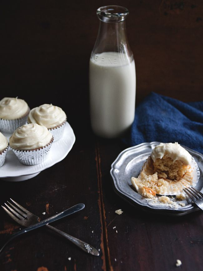 honey cupcakes with lemon cream cheese frosting