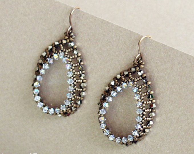 Open Teardrops Earrings Beading Tutorial Seed Beads And
