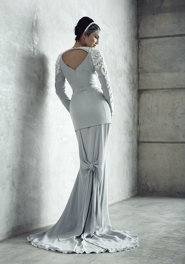 Photographer: Gerald Goh from Imagerom Studio Code: MLC-B14-20041-IVY Description: Embroidered raglan sleeves, light grey silk crepe top with mermaid cut skirt and chiffon train  #weddings #melindalooi #melindalooiivory #ivory #bridal #weddingdress #bridaldress #weddinggown #gown #bridalgown #bride #vintage #embellishments #crystallized #swarovski #glassbeads #waterpearls #beading #beaded #tulle #frenchlace #lace #satin #silk #bajuakadnikah #bajukurung