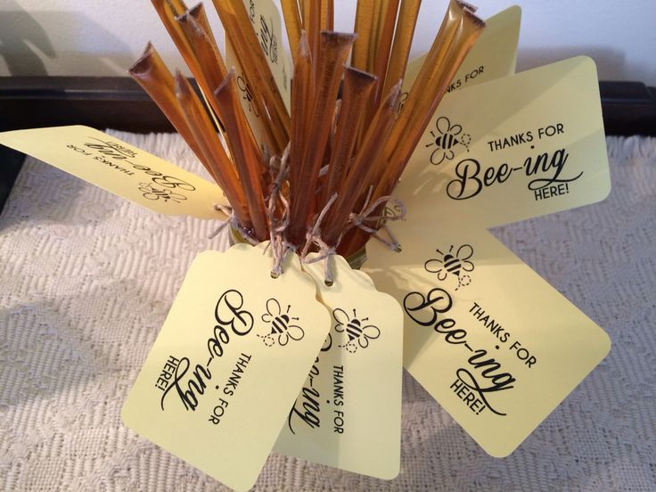 "bumblebee baby shower ""Thank you for bee-ing here"" favor gift honey sticks"