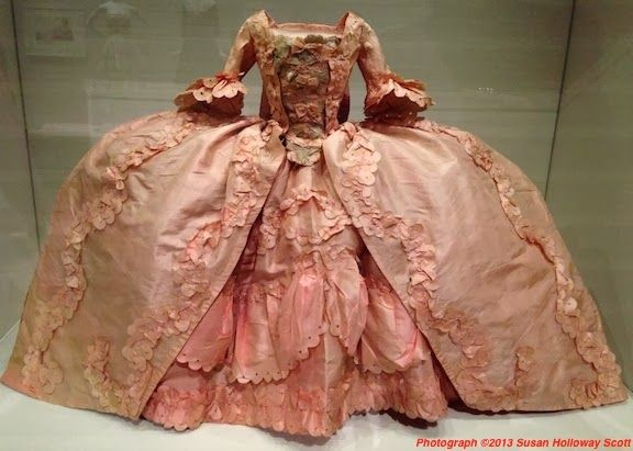 """This is a gown (c.1760) from a Pandora -- the first 'fashion dolls.' These 15"""" mannequins were made to show the latest fashions from London or Paris."""
