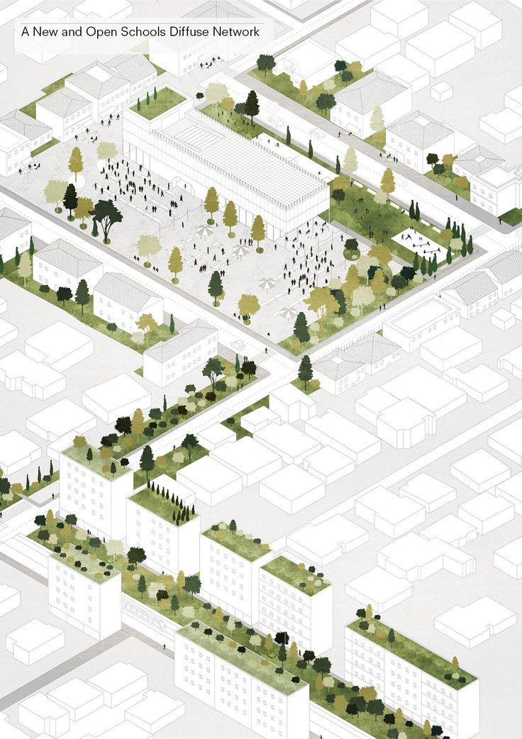 Image 12 of 21 from gallery of Tirana 2030: Watch How Nature and Urbanism Will Co-Exist in the Albanian Capital. New public schools will act as focal points for city neighborhoods. Image Courtesy of Attu Studio