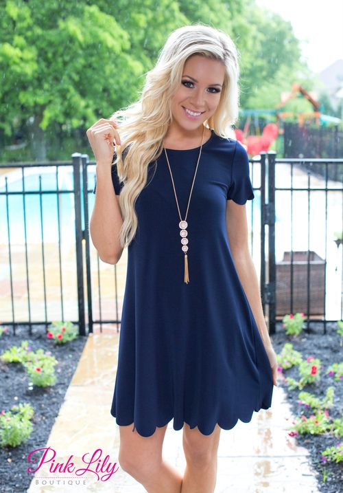 When you wear this dress you will wish it was spring forever! The feel is just comfy and so soft! Its lightweight material is great for warmer days, and not to mention it has the cutest scallop design! Dress it up with wedges for a finished look!