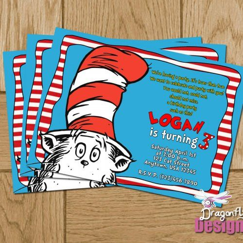 35 best cat in the hat party images on pinterest | hat party, dr, Birthday invitations