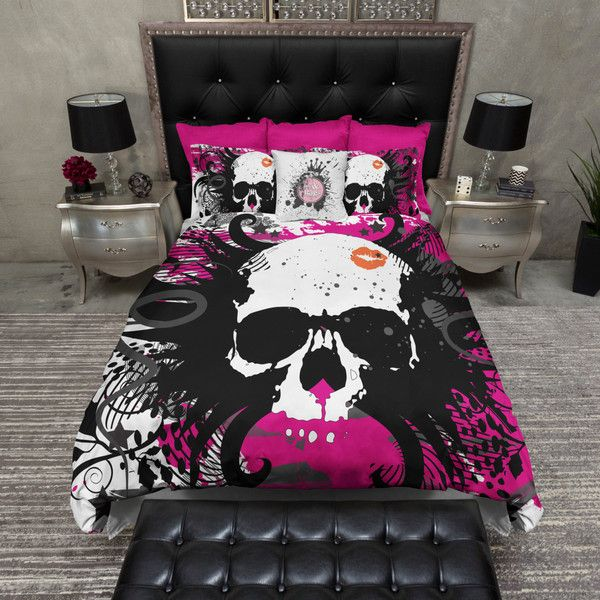 Lightweight Hot Pink Skull Kiss Bedding Skull Comforter Cover Skull... ($119) ❤ liked on Polyvore featuring home, bed & bath, bedding, duvet covers, dark olive, home & living, california king bed set, twin duvet, king size pillow cases and twin bedding sets