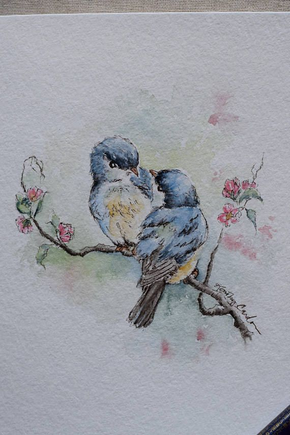 Antique blue birds/Vintage birds watercolor card (Two lovely birds conversing on a pink blossom tree)-prints