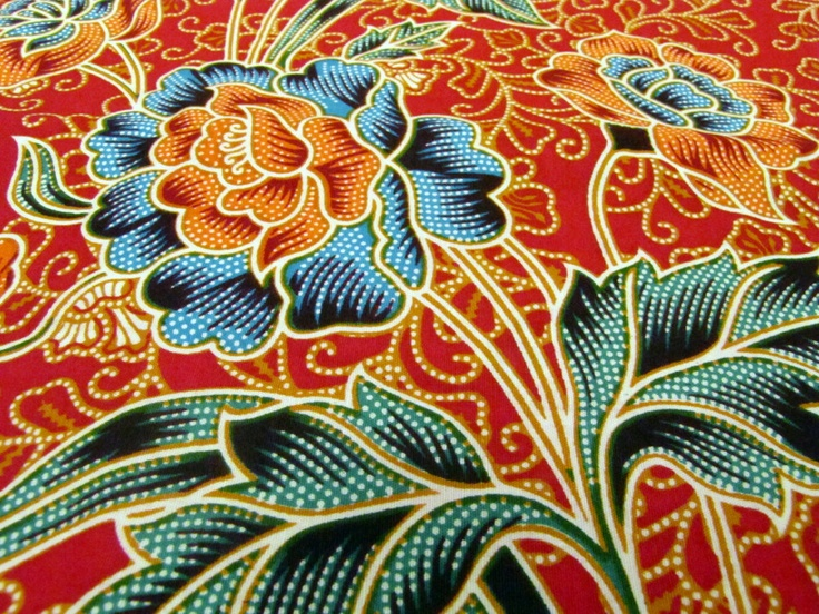 Colorful cotton print Fabric - Indonesian Batik in red  burgundy with floral and leafs print.