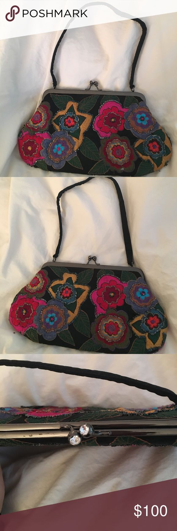 Floral beaded handbag Gorgeous heading detail and colors- great to add a POC to all black, or evening gown Marco Santi Bags Clutches & Wristlets