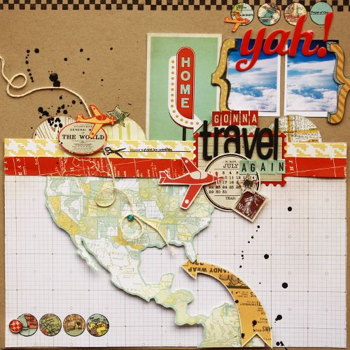COVER PAGE with map of the world to mark destinations covered Travel scrapbooking layout idea - Scrapbook.co
