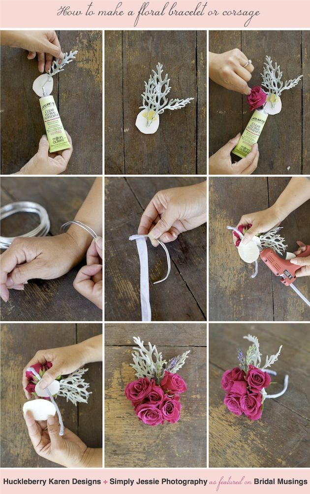 Floral bracelets and corsages are perfect for bridesmaids, flower girls (and proms). Here's a step by step DIY tutorial by Huckleberry Karen Designs