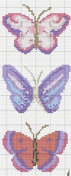 Butterflies Free Cross Stitch Chart Needlepoint Pattern