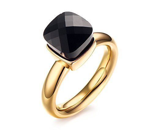 Vnox Fashion Stainless Steel Black Crystal Engagement Ring for WomenGoldSize 6-8