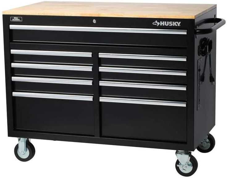 Husky extra deep 46 in 9drawer mobile workbench mobile