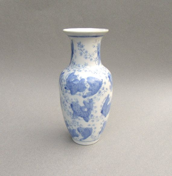 Vintage White and Blue Vase Asian Vase with by SarahWhyteVintage