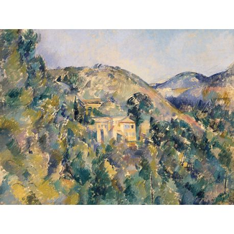 Reprodukcja obrazu na płótnie View of the Domaine Saint-Joseph - Paul Cezanne dostępna w rozmiarach 80x60, 70x50, 60x45, 40x30 #fedkolor #reprodukcje #obraznapłótnie #PaulCezanne #Cezanne #DomaineSaintJoseph #krajobraz #pejzaż #widok #góry #las #dodomu #dosalonu #dobiura #dogabinetu #malarstwo #obraz #sztuka #ozdoby #naścianę #dekoracje