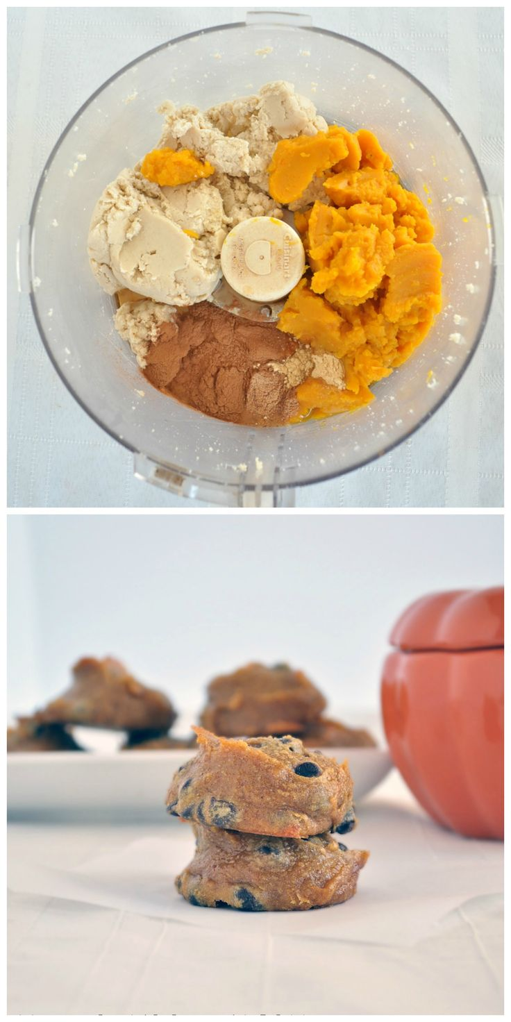 Flourless Pumpkin Cookies made healthier. NO flour, NO refined sugar and no mixer needed for this easy recipe! #pumpkin #vegan #glutenfree #paleo
