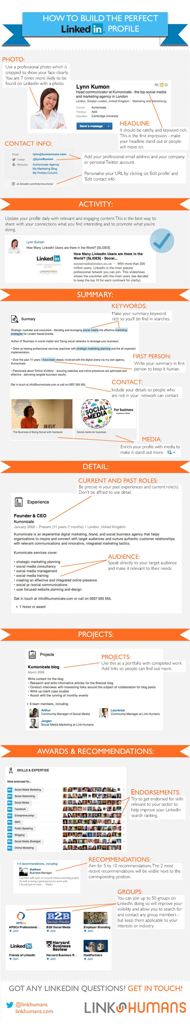 How To Build the Perfect Linked.in Profile Infographic