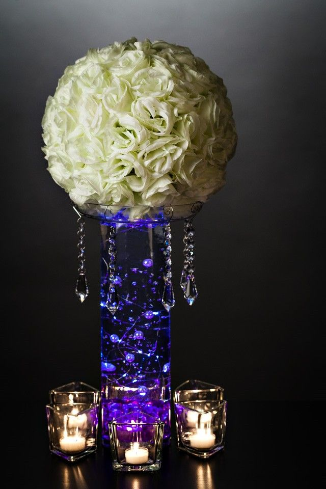 Diy Centerpiece With Hydro Orbs And String Lights Diy Wedding Centerpieces Pinterest