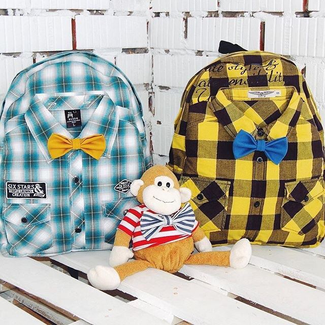 Wow! Say hi to a new collection of great hipster backpacks made out of high quility shirts and coming with a stylish bowties. Available right now  on WhatTheFactory.etsy.com