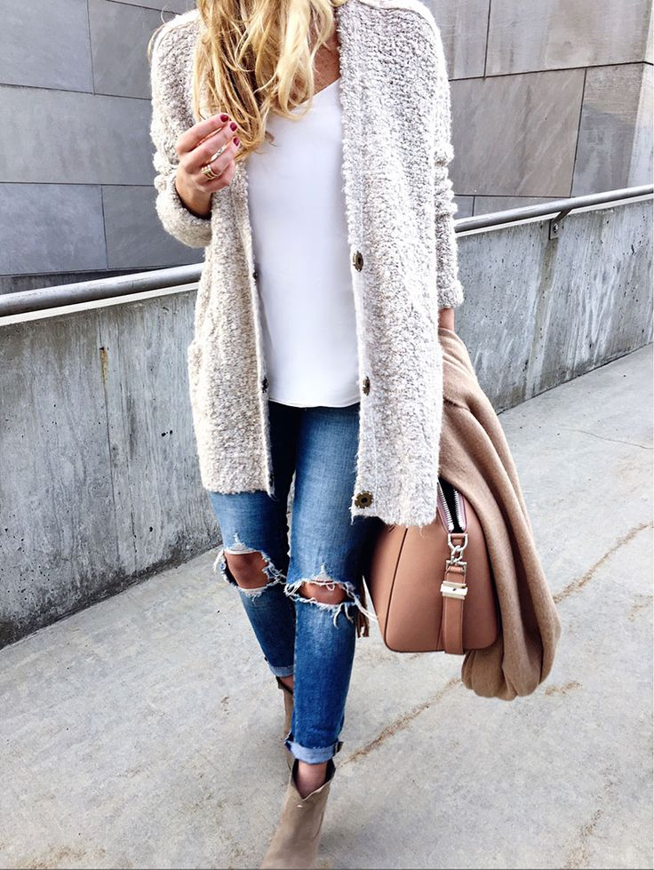 Free People Cream Cardigan with Distressed Levis Jeans and Tan Scarf