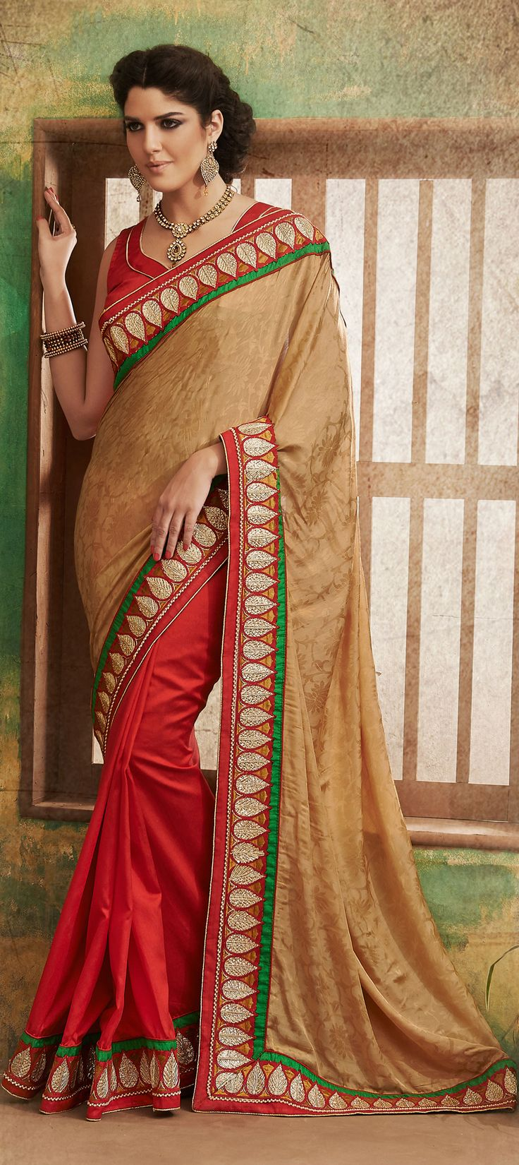 131778: Red and Maroon, Beige and Brown color family Saree with matching unstitched blouse.