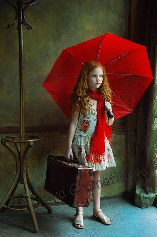 Red umbrella - fine art print by tanyagramatikove