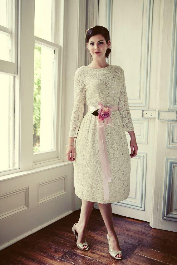 Knee length, full sleeve, vintage lace wedding dress