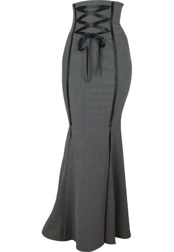 Neat looking skirt. Totally impractical for dashing up stairs 2 at a time! ;P Steampunk Sexy PinUp Grey Plus Size Corset Skirt $49.95