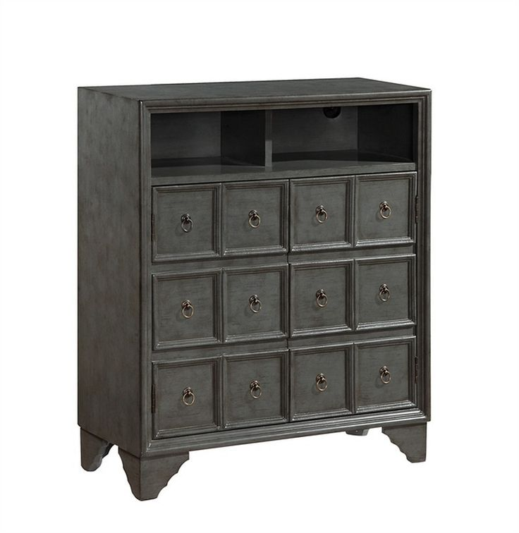 Antique Apothecary Two Door Media Center Alert1 UA-GHF-81 - Antique Apothecary Two Door Media Center Alert1 UA-GHF-81With the look of an antique apothecary, our media cabinet finished in a soft Austin Grey will blend easily into so many Decors. Two doors open to reveal adjustable shelves and our cord management system, which allows wires to be neatly tucked away. Two open compartments, mean that you will have space for all you audio and video components. Need a little more room, put two side…