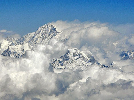 the view of majestic mountains seen from the Mountain flight, Nepal