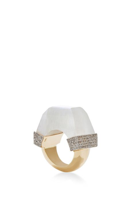 Never-Ending Moonstone Ring With Diamond Pave by Jade Jagger for Preorder on Moda Operandi