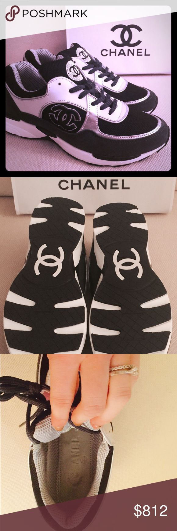 Luxury Chanel tennis shoes mimic style New/excellent condition. Work once but they run small and I don't quite fit into them. Has a cool green  and metalic looking color to them in certain lighting CHANEL Shoes Athletic Shoes