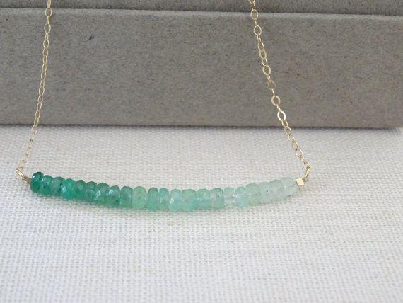 May Birthstone necklace Genuine Emerald Necklace by LAminiJewelry