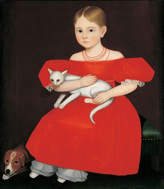 """Ammi Phillips, """"Girl in a Red Dress with Cat and Dog,"""" 1830-35, American Folk Art Museum"""