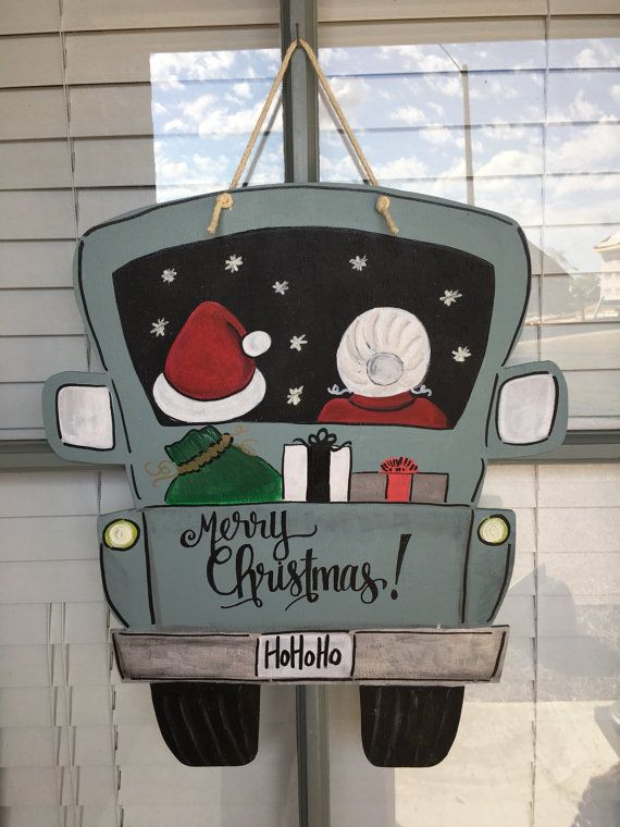 Santa and Mrs Claus truck by StinkBugStudio on Etsy
