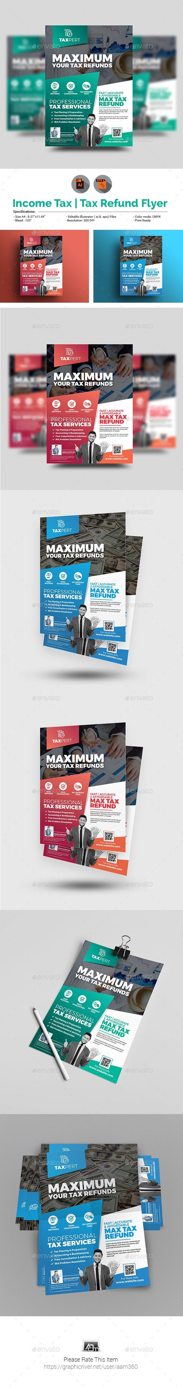 Income Tax/Tax Refund Flyer Template - Corporate Flyers #FinancePoster