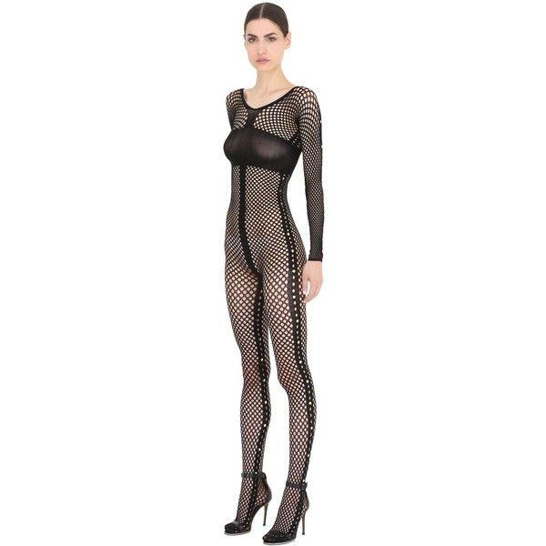 Emilio Cavallini Women Studded Fishnet Bodysuit ($145) ❤ liked on Polyvore featuring intimates, shapewear and bla