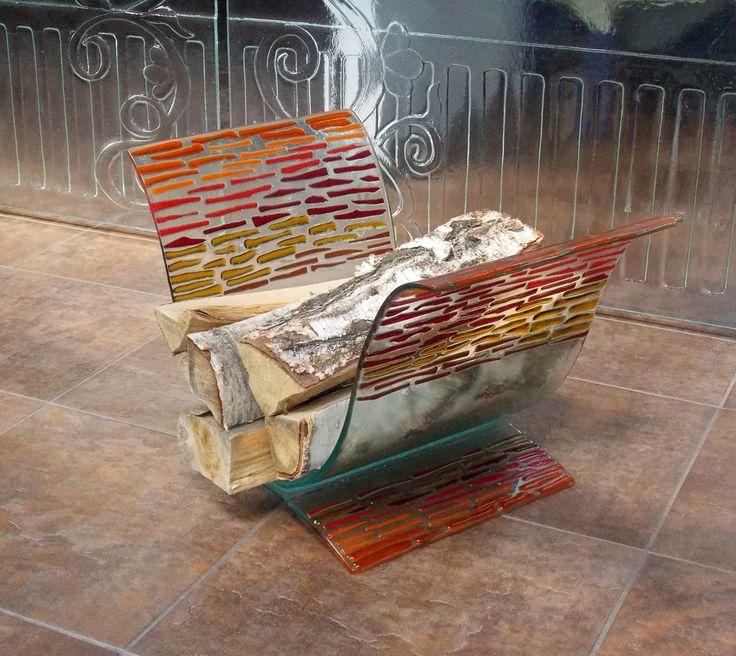 Naczynie fusingowe na drewno do kominka. Fusing, szkło stapiane. Manufaktura Riwal. Fused glass. http://www.ceramikaiszklo.riwal.pl/