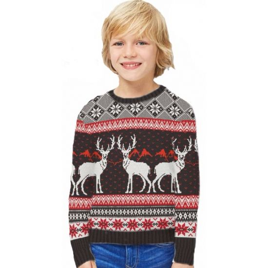 Foute print kinder truien Happy Reindeers  Kinder kersttrui Happy Reindeers. Zwart wit rode kersttrui met diverse kerst afbeeldingen. De kersttrui is gemaakt van 100% acryl en geschikt voor jongens en meisjes.  EUR 26.95  Meer informatie
